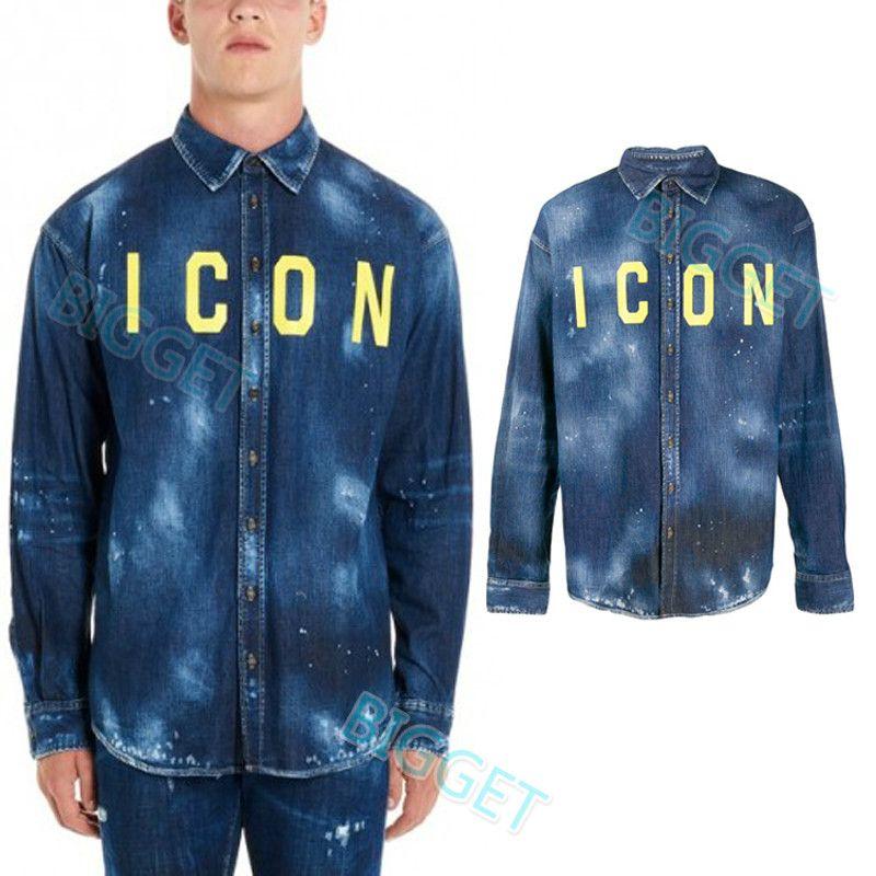 2020 Man Graffiti Vintage Denim Shirt Skinny Fit Bleach Detail Painted Effect Denim Cotton Casual Long Shirts Guy