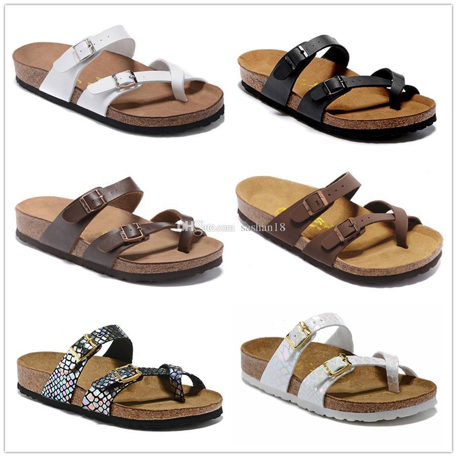 Mayari 805 Аризона Gizeh 2019 Горячее надувательство летом Мужчины Женщины сандалии квартиры Пробковые тапочки унисекс повседневная обувь печати смешанных цветов Размер US3-15