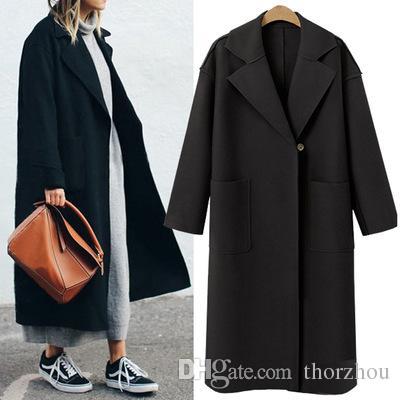 Long col en laine manteau élégant hiver femme mélange de laine manteaux Slim Type femme poches manteau manteau survêtement