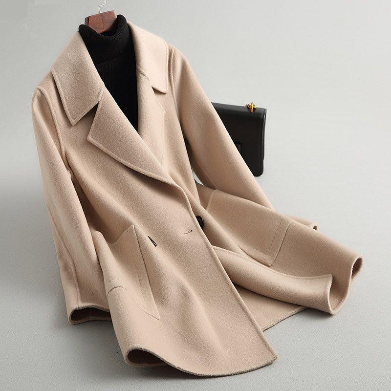 Осень Зимняя куртка Женщины Двусторонняя шерстяное пальто Женщины Корейский шерсти пальто Vintage Pink курток манто Femme KQN88107 MY1977