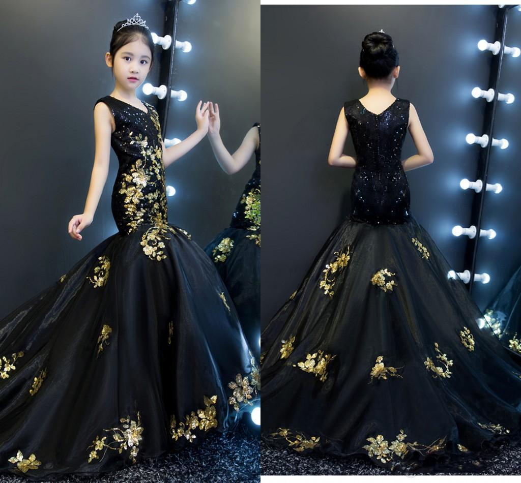Altın Ve Siyah Denizkızı Kızlar Yarışması Elbiseler 2019 V yaka V Geri payetli Tül Bebek Parti Elbise Özel Durum Elbise Çocuk Çiçek Kız