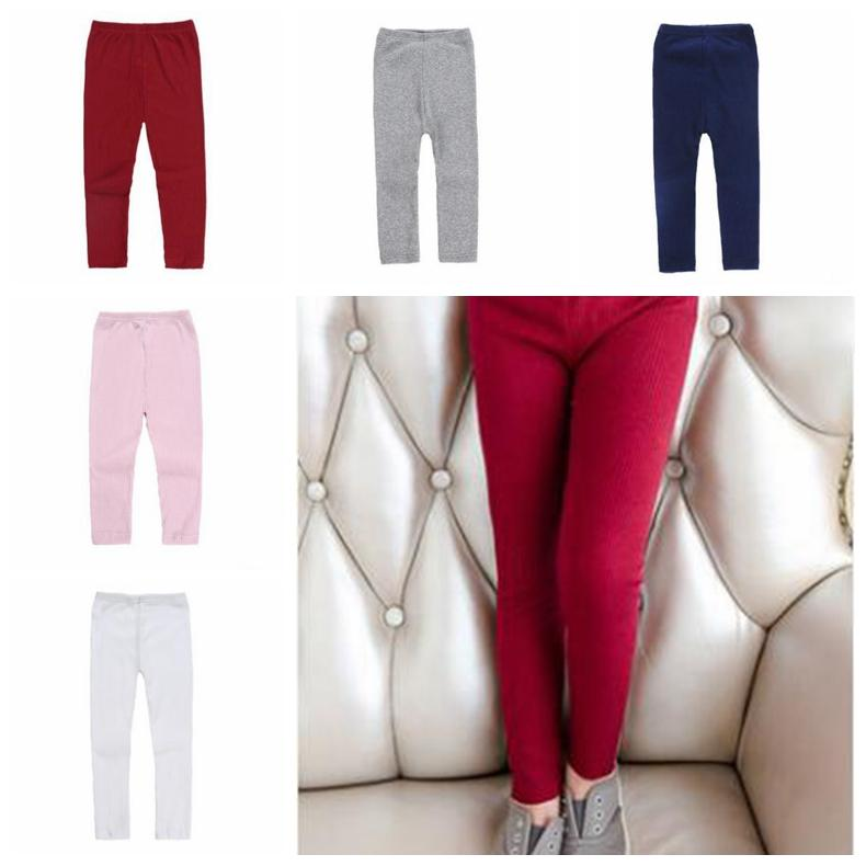 Candy Girl Cor Pants Stretch malha inferior Meias Leggings Crianças Sólidos quentes calças justas Mid cintura Cotton calças moda Roupas de bebê D-6380