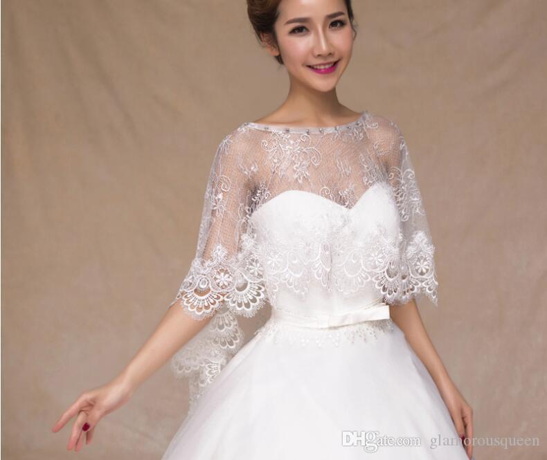 2020 Lace Wedding Jacket Wrap Bridal Elegant Short Bridal Wraps Shawl Crystal Summer Spring Women Evening Bolero New Bride Capes Mariage