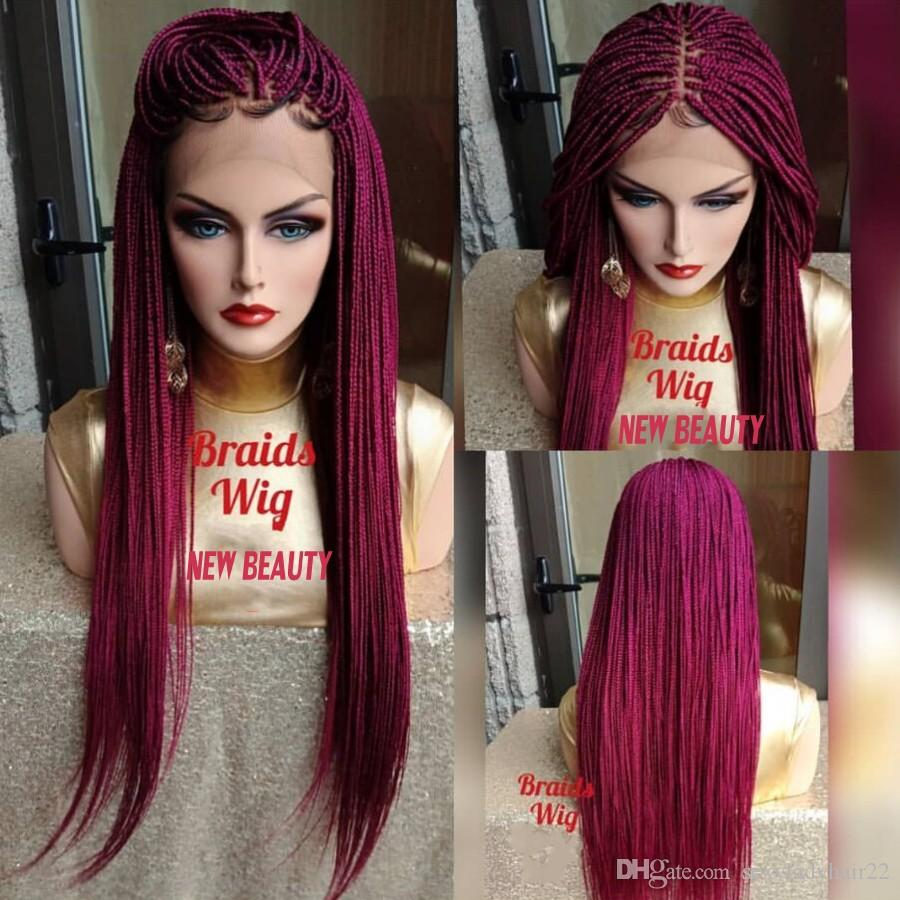 Hotselling africa women style Jumbo Braids lace front wig Synthetic hair box Braid wig pink red Crochet Braids wig natural hairline