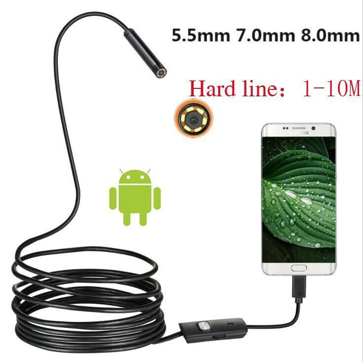 1pcs línea dura 5,5 mm 7mm 8mm Android teléfono de la cámara del endoscopio industrial de tuberías dental automático de la cámara de la reparación Reparación USB herramienta 1M 2M 3.5M 5M 10M