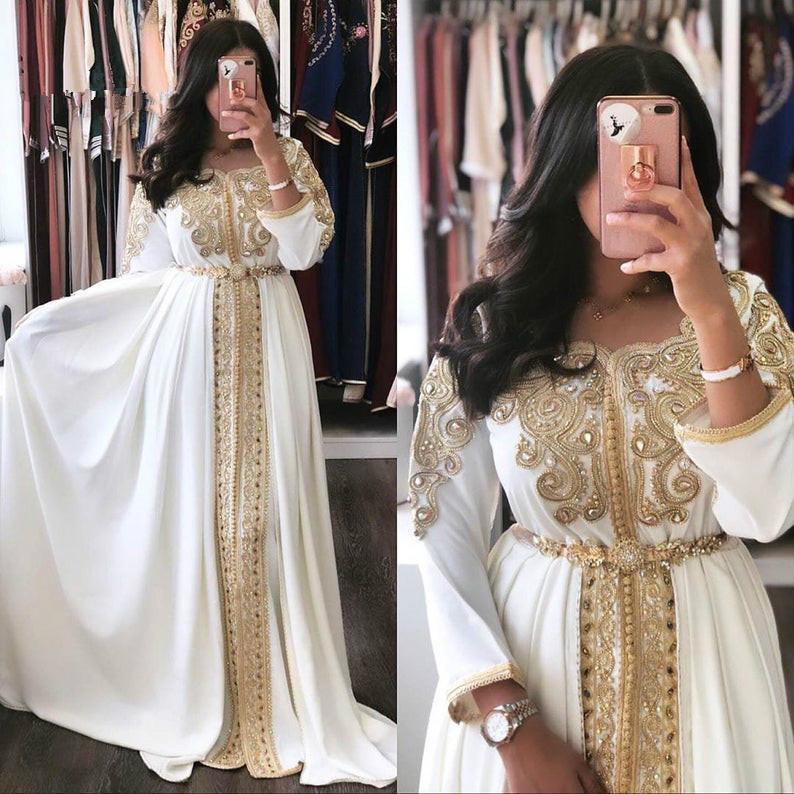 소매 A 라인 페르시 새해 댄스 파티 드레스 무슬림 2020와 카프 탄 모로코 이브닝 드레스 화이트 아바야 두바이 공식 이브닝 가운