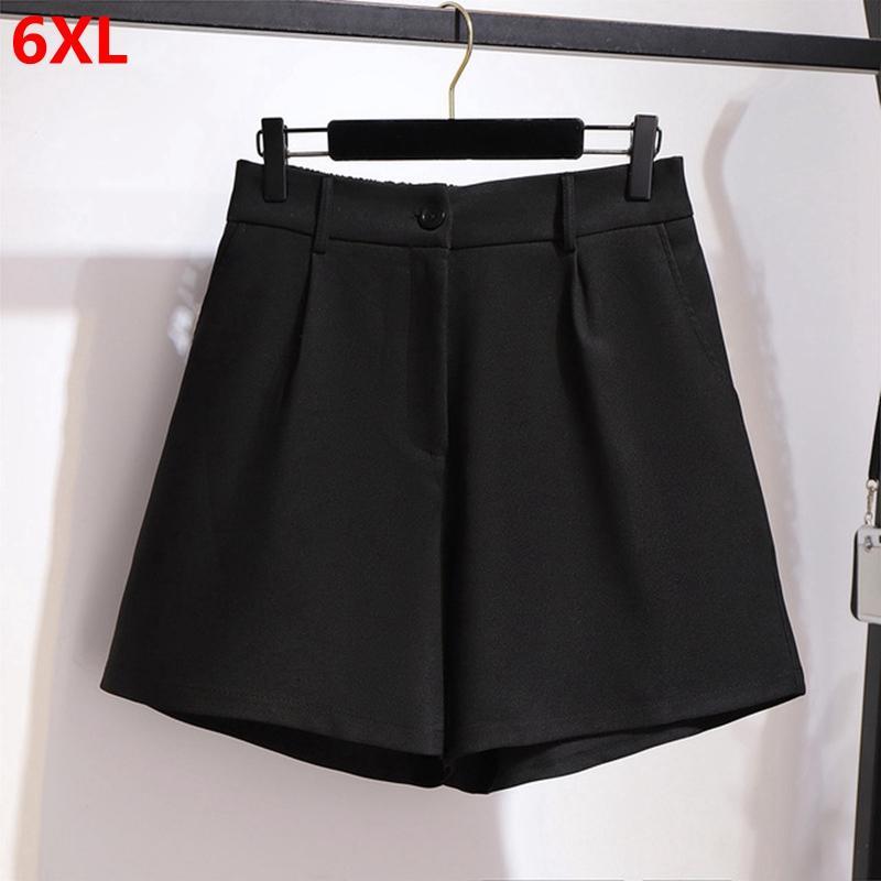 primavera e l'estate pantaloncini neri extra-large della donna vita alta nero a gamba larga pantaloni di scarsità delle donne 6XL 5XL 4XL