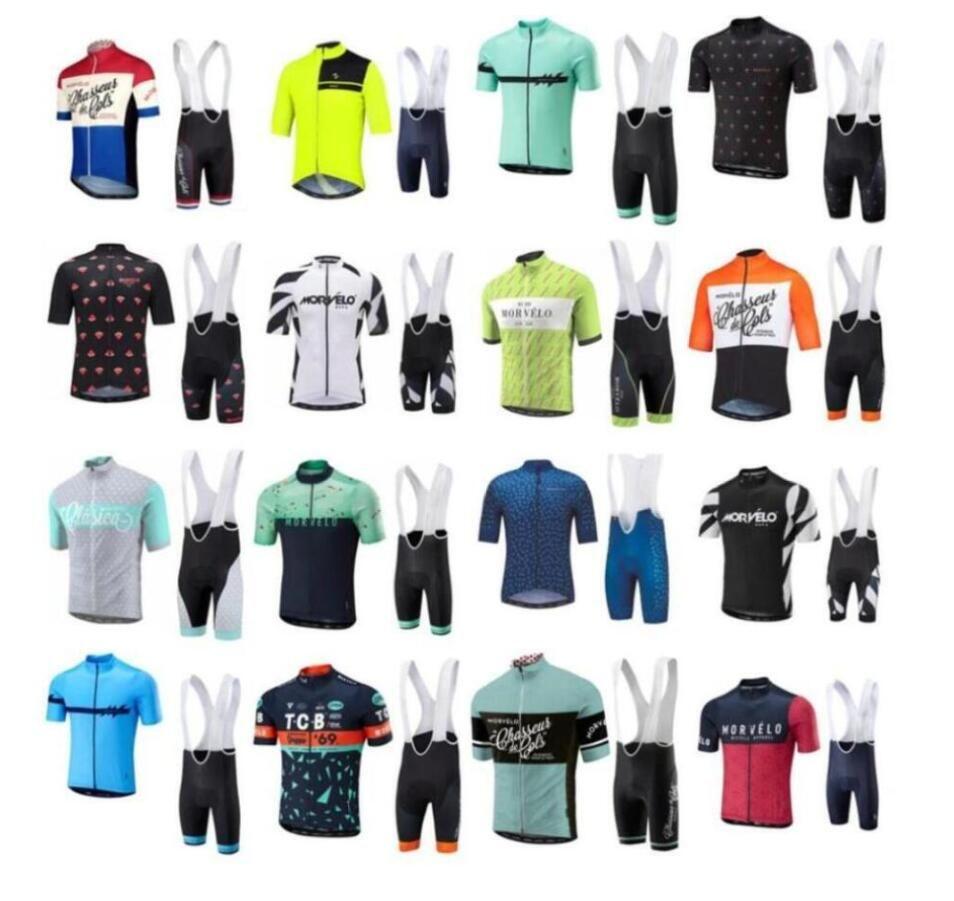 2019 Sommer Morvelo Radfahren Jersey Kurzarm Radtrikot Fahrradträgerhose gesetzt atmungsaktiv Straßenfahrrad Kleidung Ropa Ciclismo rrmall