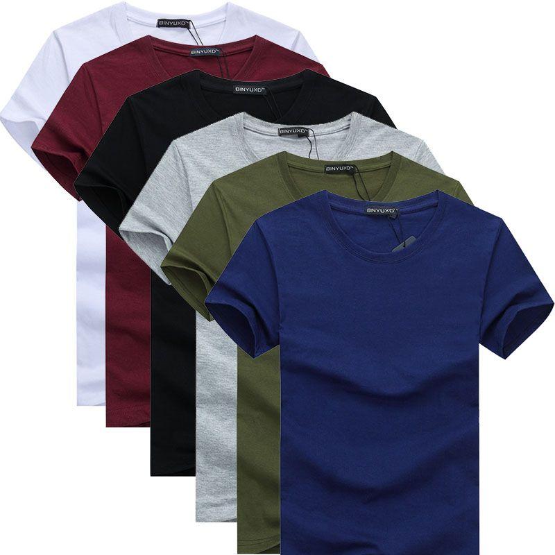 6pcs 2018 Simple design créatif couleur unie coton T-shirts hommes nouvelle arrivée style manches courtes hommes t-shirt