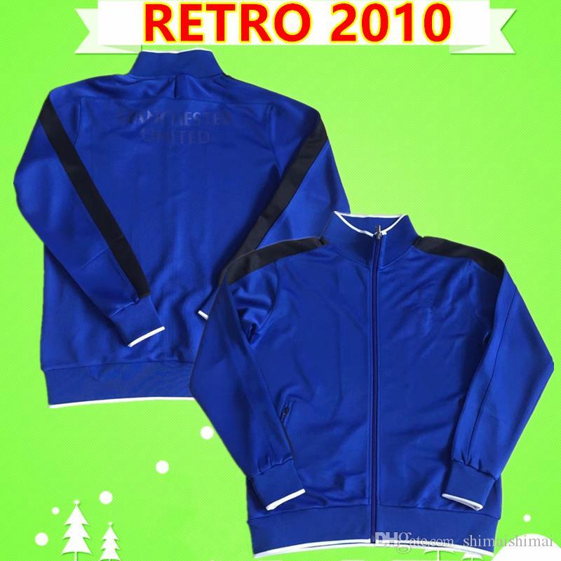2010 man UTD away blue united retro tracksuit soccer Jersey jogging suits football shirt training uniforms vintage survetemen adult jacket