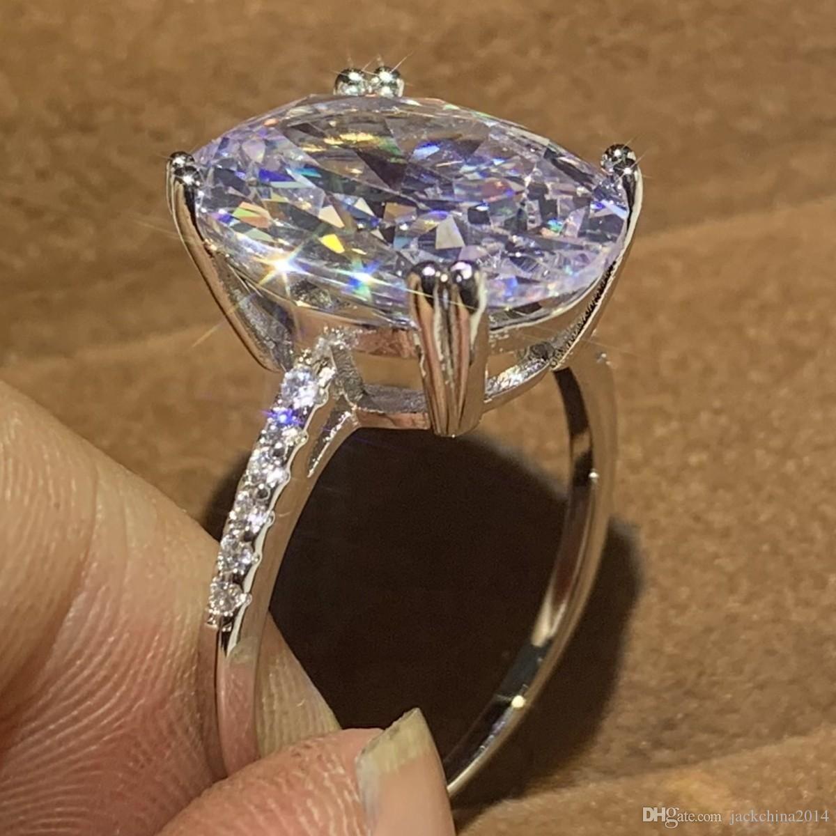Tamanho 5-10 Luxury Jewelry solitário de diamante real 925 Oval prata Cut Branco Topaz Gemas Dove Egg Mulheres presente de casamento Anel Banda