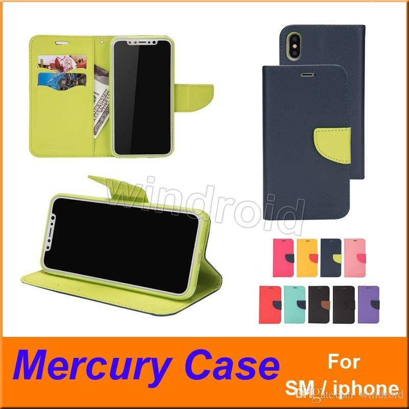 Mercury Wallet Leather Stand PU & TPU Hybrid Case Folio Flip Cover For All Phones iPhone X XS MAX 8 7 6 Plus S10 S9 NOTE 9 With retail box