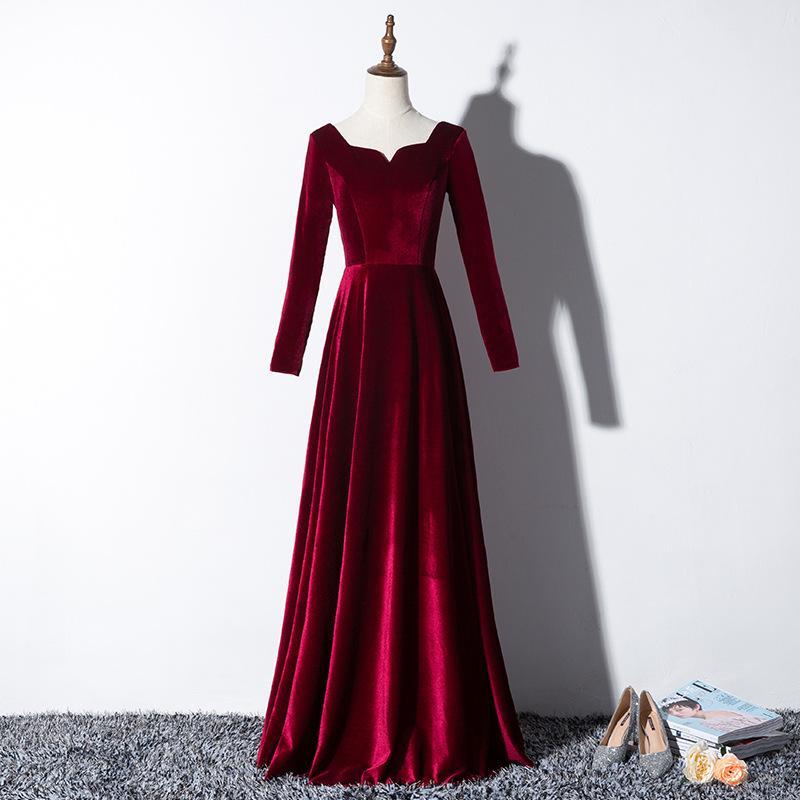 Elegant Velvet Long Bal Soirée Robes 2020 Images de vraies manches longues Robes Formelle Robes de fête Formelle Dentelle Srobe de Soisere