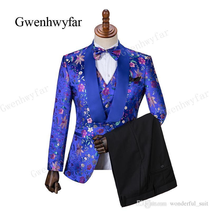 Gwenhwyfar Groom Wear con royal blue Scialle Risvolto smoking da sposa Custom Made Uomo adatto Smoking da sposa (giacca + pantaloni + gilet)