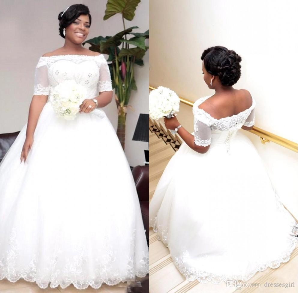 South Africa Elegant Ball Gown Wedding Dresses Nigeria Boat Neck Bare Shoulders Bridal Gowns With Half Sleeves