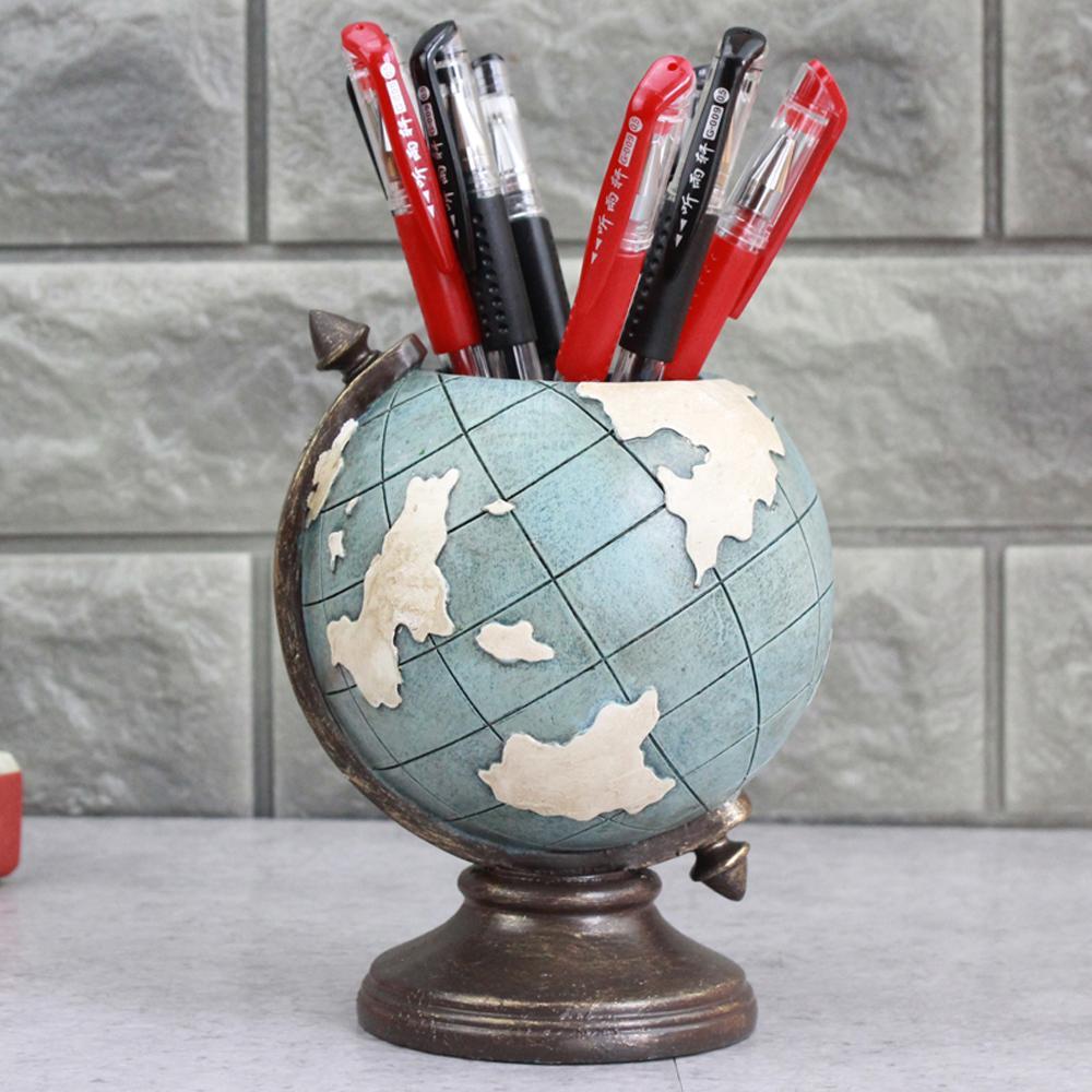Globe Kalem Kalem Tutucu, Masa Mavi Kalem Kupa Organizatör Kırtasiye Aksesuarları Dekoratif Çocuk Hediyeler Vintage Süsler Dekorasyon Malzemeleri