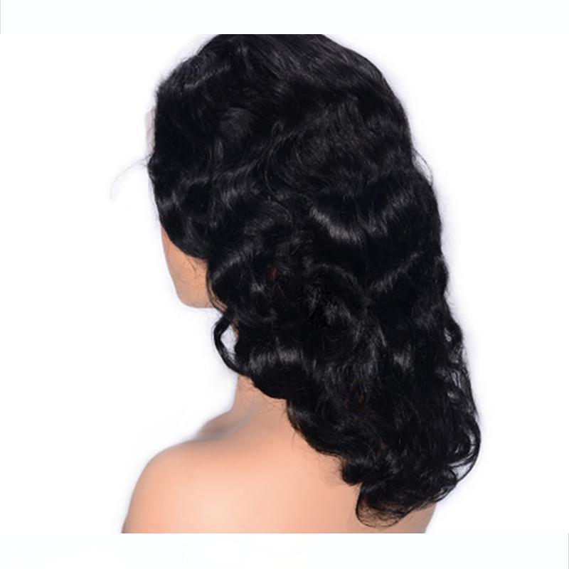 흑인 여성의 16 인치 글루리스 레이스 가발 브라질 물결 모양의 머리 가발 짧은 레이스 프런트가 인간의 머리 가발