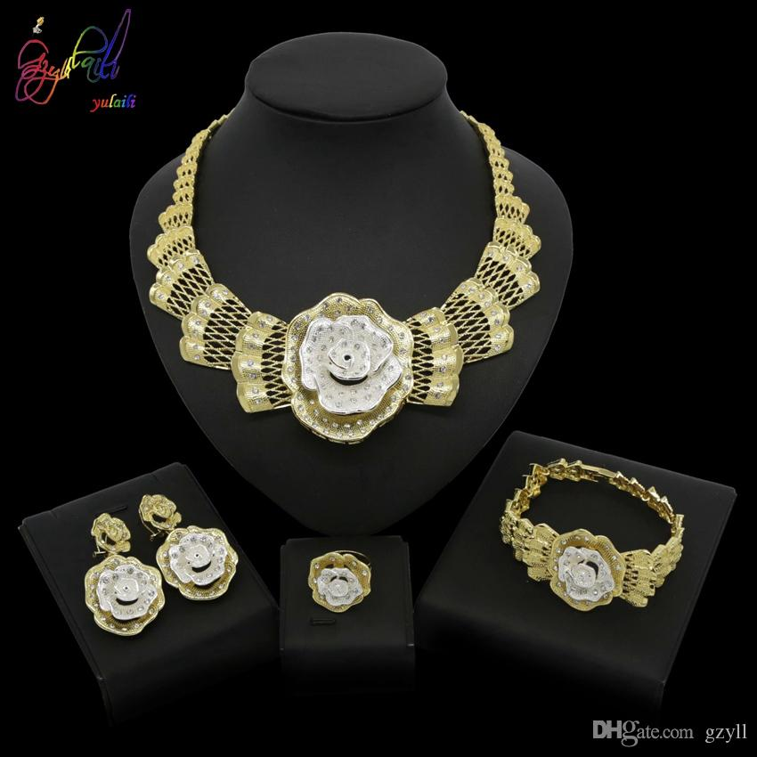 Yulaili Fashion Dubai Gold Bride Wedding Jewelry Sets Africa Big Flower Crystal Necklace Bracelet Earrings Ring Free Gift Box