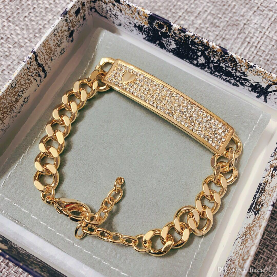 TOP brand Have stamps diamond designer bracelets for lady women Party wedding lovers gift engagement luxury jewelry With BOX LZ0421