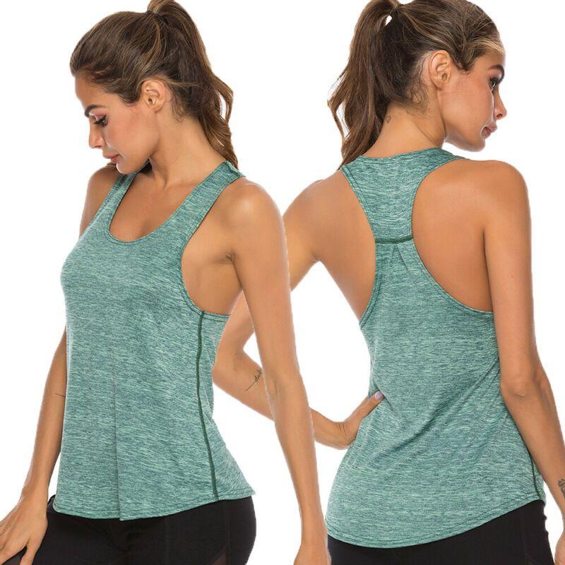 Été Femmes Gilet sans manches Gym Fitness T-shirt pour filles entraînement réservoir yoga shirt Tops vêtements fitness jogging yoga Réservoir T-shirt
