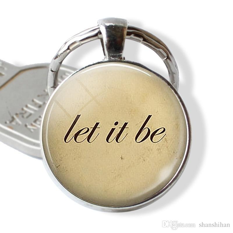 2019 new fashion letter photo keychain convex round glass pendant couple keychain gifts for friends or family