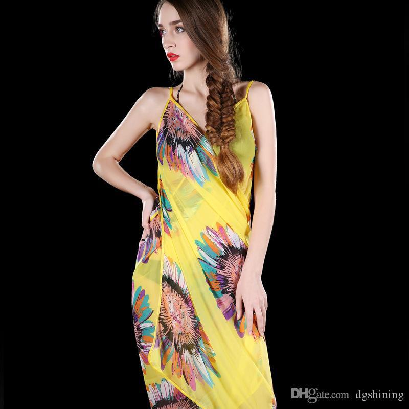 Chiffon Beach Smock Towel Fashion Wrap Pareo Flowers Bikini Cover Ups Sarong Beach Dress Sunscreen Shawl Beachwear Swimdress Scarf DHL