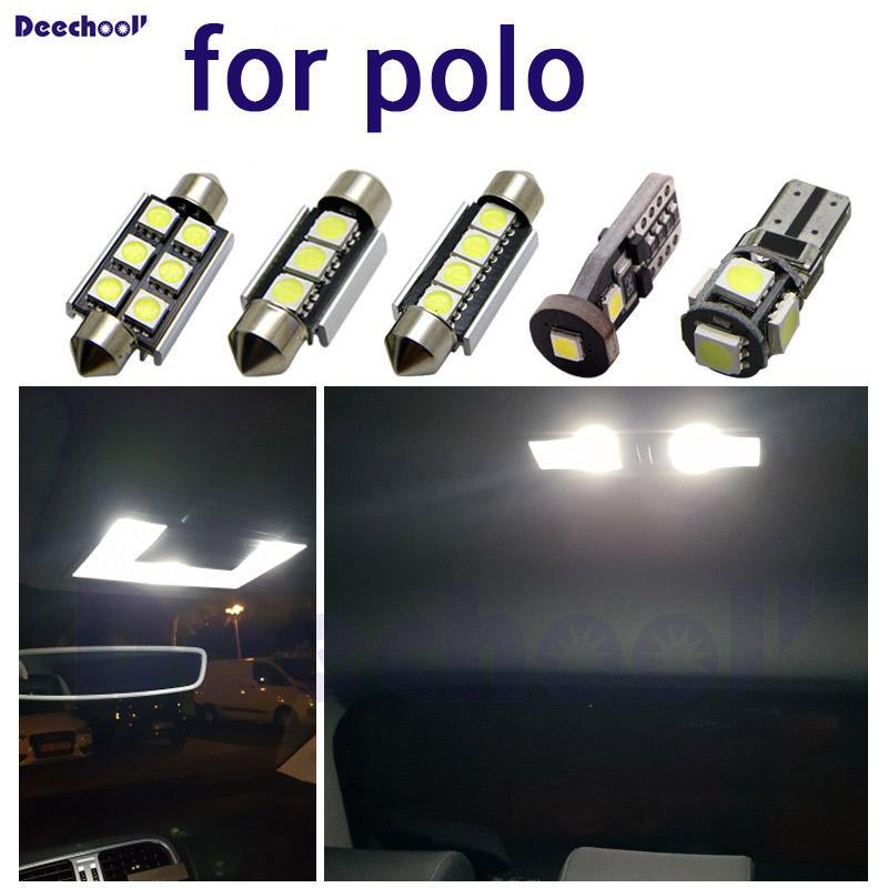 Pure Cool White LED Номерной знак автомобиля Свет + интерьер фары комплект лампы для VW Polo 6R для 6C 9N 9N3 6N 6N1 6n2 карта плафона