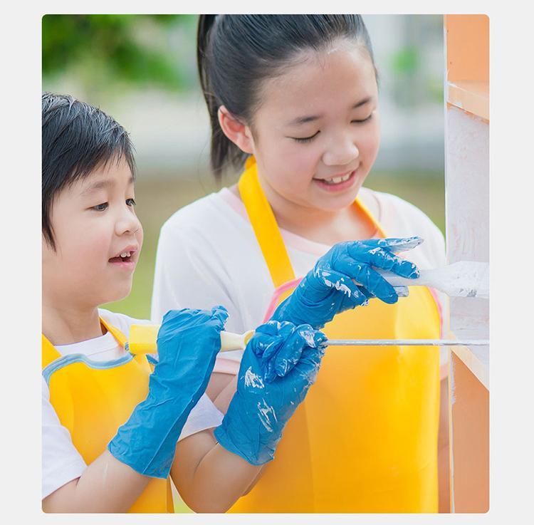 Çocuklar çocuk Tek Nitril lateks eldiven şartnamenin 2 çeşit anti-asit eldivenleri B sınıfı lastik eldiven diy Eldiven Anti-skid opsiyonel
