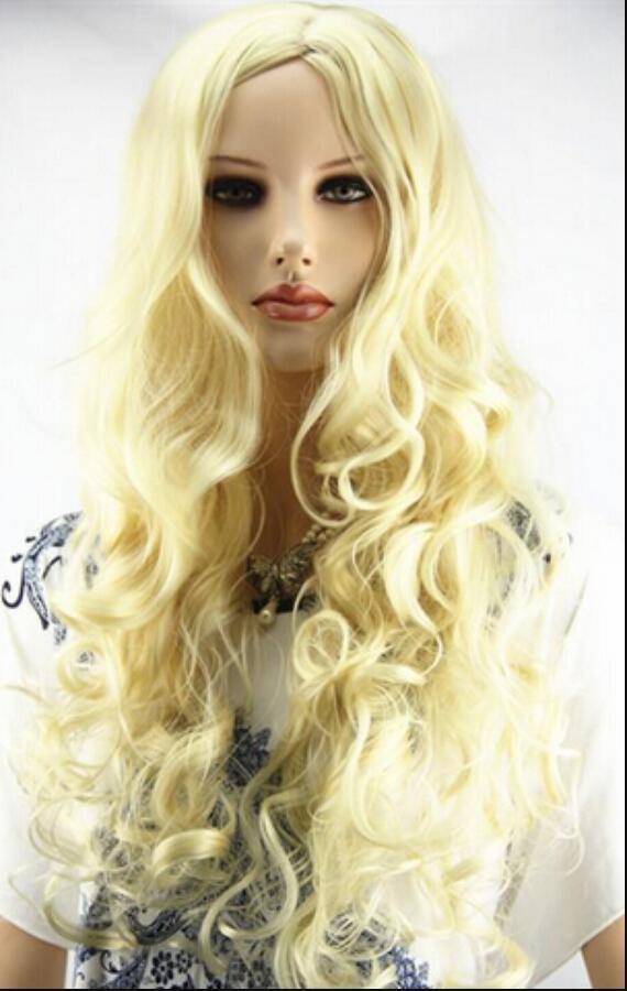 Perruque perruque costumée longue perruque jaune frisée de haute qualité perruque cosplay
