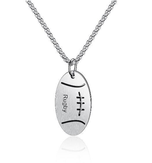 New Arrival Men Statement Rugby Pendants Necklaces Stainless Steel Chain Fashion Jewelry Dropship Wholesale