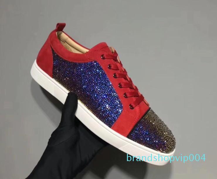 Designer scarpe da ginnastica rosse fondo piatto Spikes Velours Suede Sneakers Iron Grey uomini formatori 100% vera pelle scarpe da festa mn189602