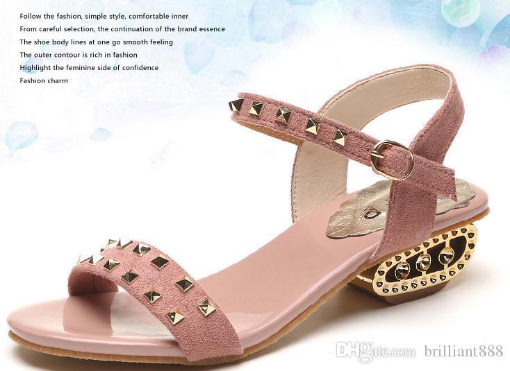 2019 Sandalias de mujer en verano con nuevo estilo de tacón bajo de ante @ 86