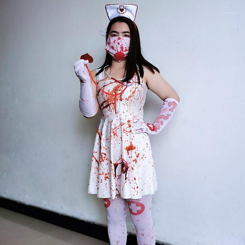 Bandeau Gants sockings cosplay sexy Set Vêtements de mode femme Halloween Terror Infirmière Robe Suspenders Stethoscope