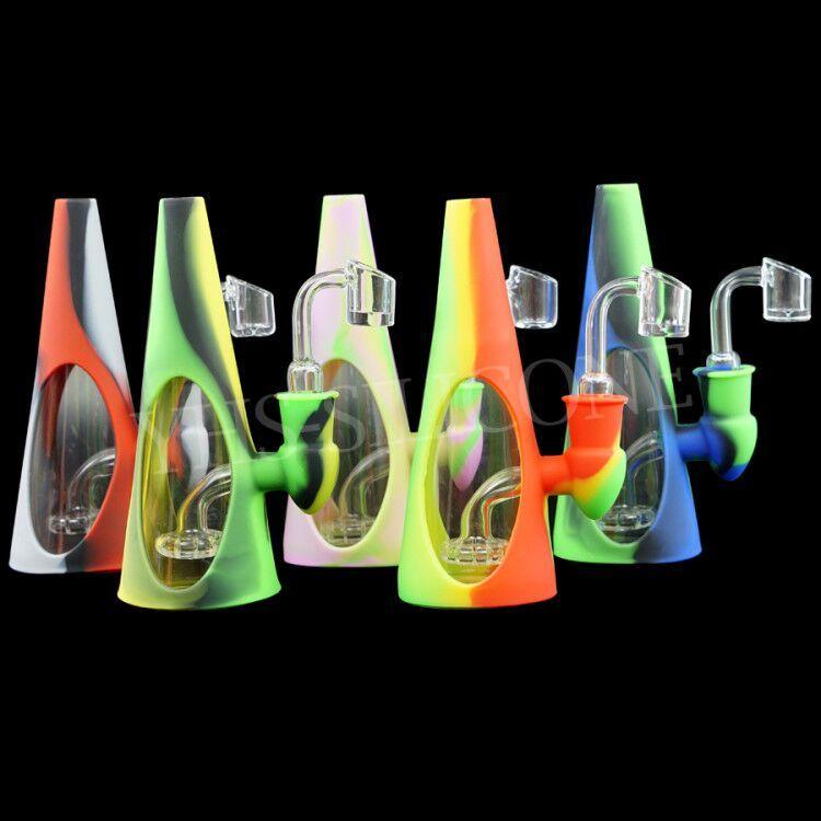 pipe verre verre de conduite d'eau de forme Cone-bong avec 14mm quartz pétard tabac silicone bécher conduites d'eau narguilé Dab Rig Recycleur