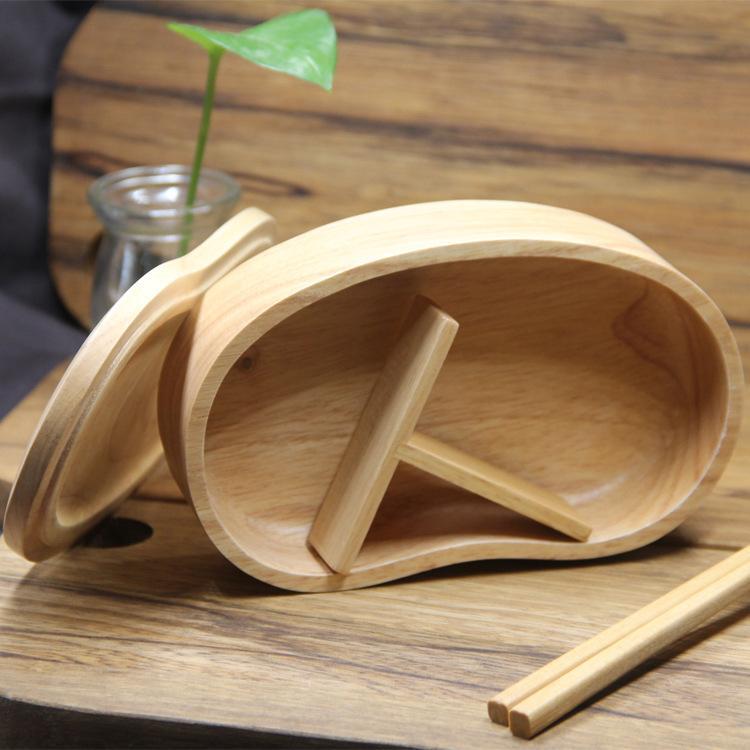 Moda de madeira japonês lunch Caixas para Homens Bento Flask Container para Tabela Food Ware armazenamento Picnic T200429 Escola