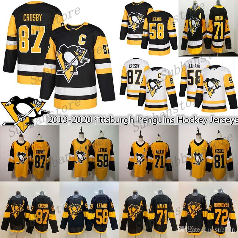 2019-2020 Nouvelles Penguins de Pittsburgh Sidney Crosby 87 58 Kris Letang 71 Evgeni Malkin 72 Patric Hornqvist Hockey Maillots