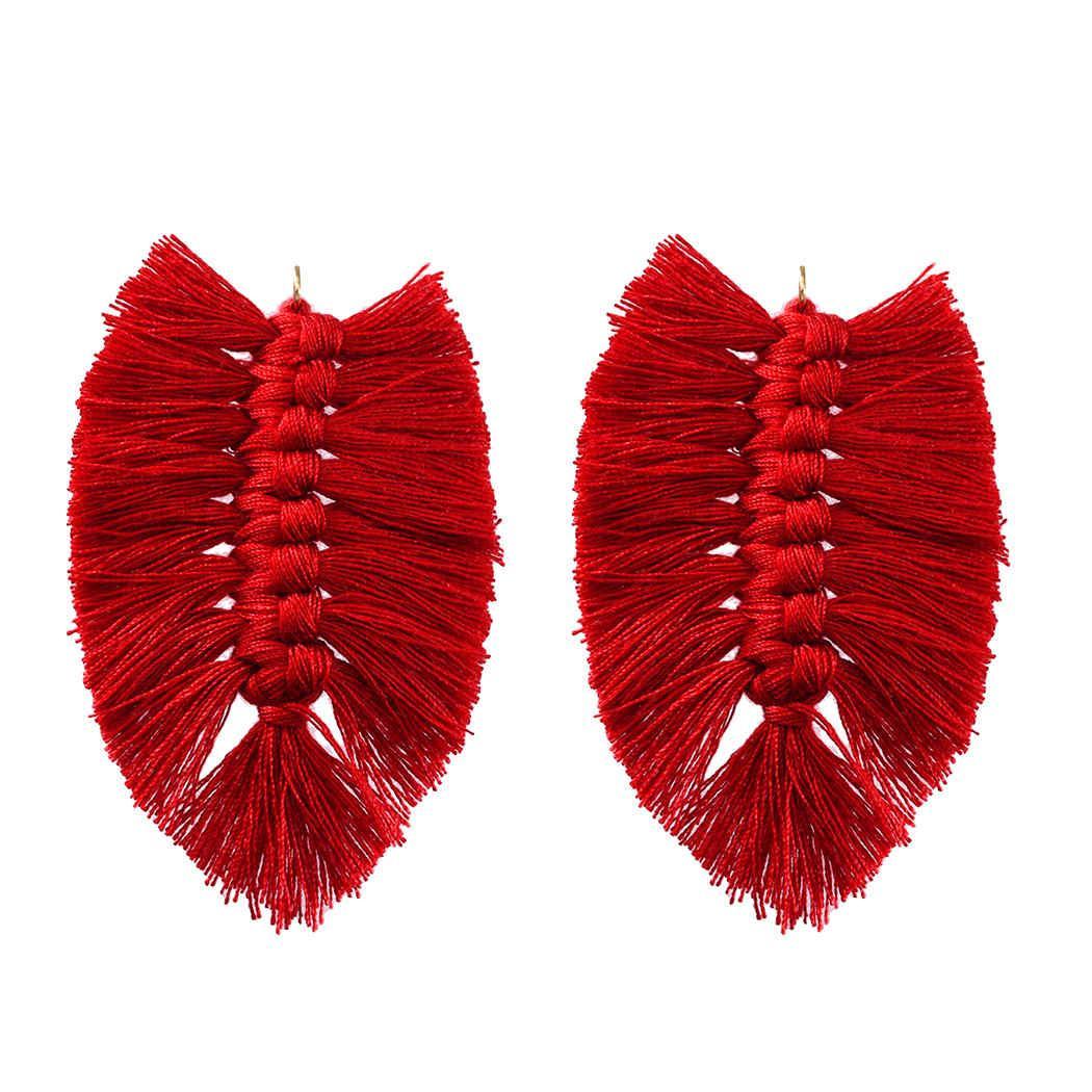 Böhmische Art-Baumwolle Seide Knoten Blattförmig Retro Ohrringe, Anhänger DIY Schmuck Accessoires handgemachte Produkte Zubehör
