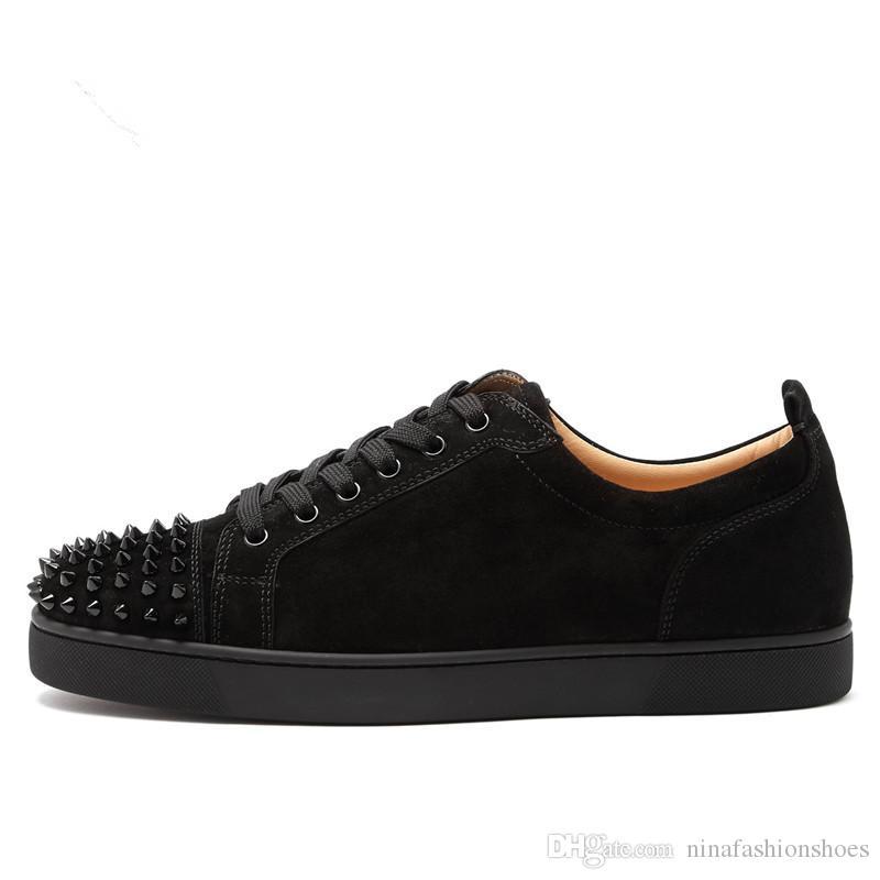 Moda İlkbahar Lace Up Süet Deri Erkek Ayakkabı Günlük Perçinler Stud Düz Erkek Günlük Ayakkabılar Düşük En Spike Sneakers Pist ayakkabı erkekler