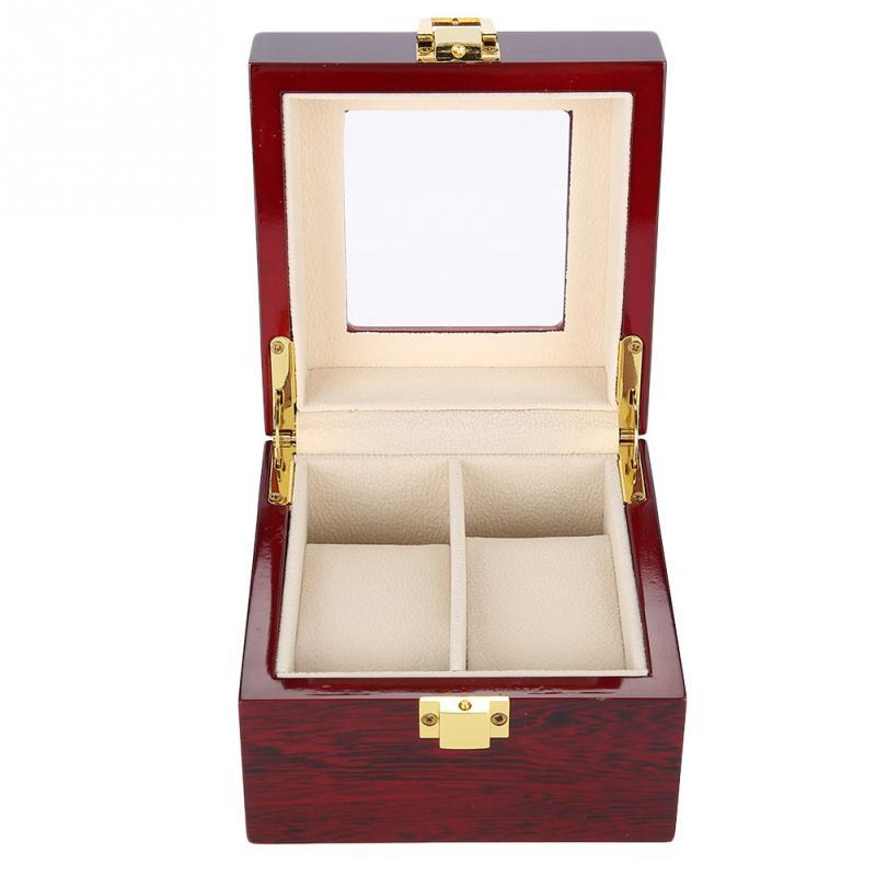 2 Grids Wooden Watch Wristwatch Display Case Jewelry Gift Storage Box Organizer Boxes for Watches Jewelry Women Gifts