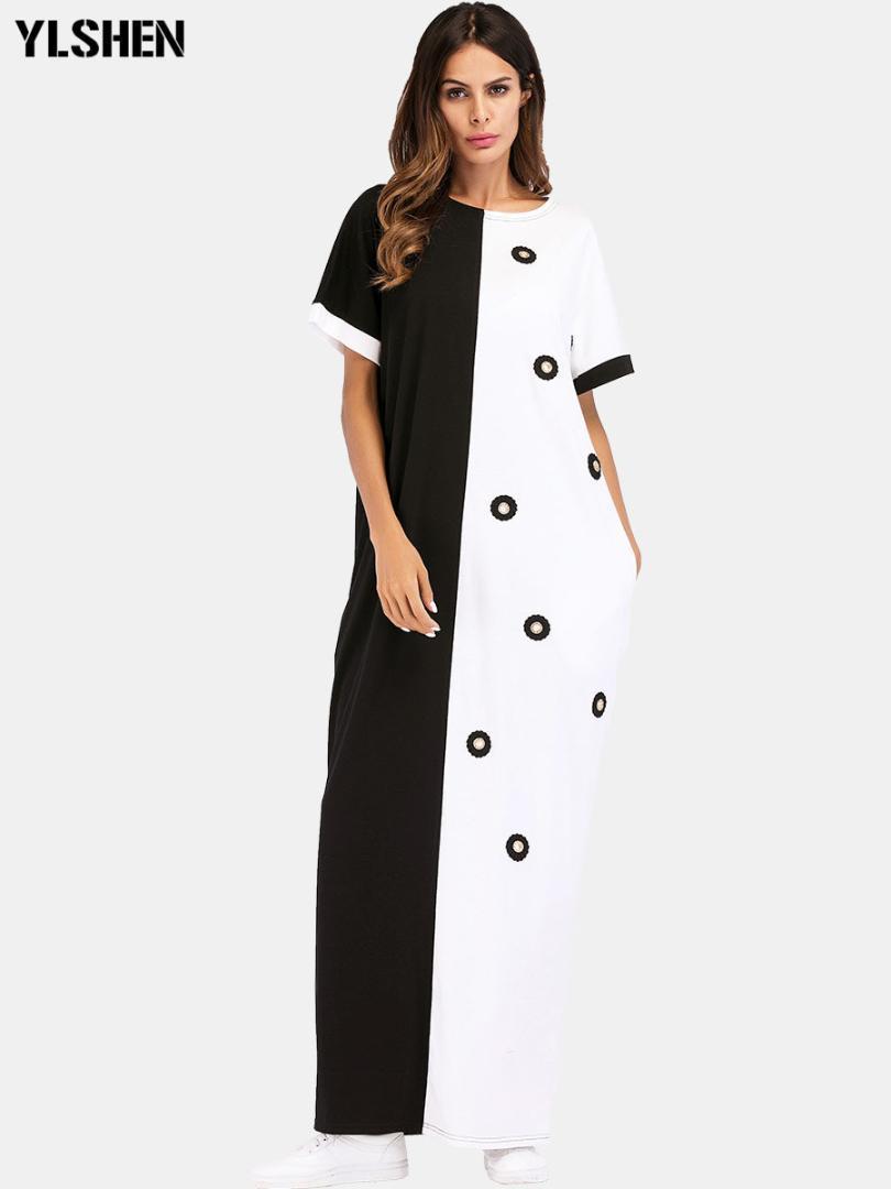 아프리카 드레스 빈티지 폴카 도트 화이트 블랙 인쇄 레트로 Bodycon 여성 여름 짧은 소매 플러스 사이즈 긴 맥시 드레스 이슬람