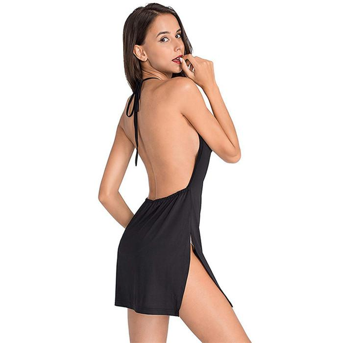 Le donne sexy di trasporto libero del vestito da estate Backless coulisse Bundle vita del V-Neck Strap Vestitino S-XL Y9
