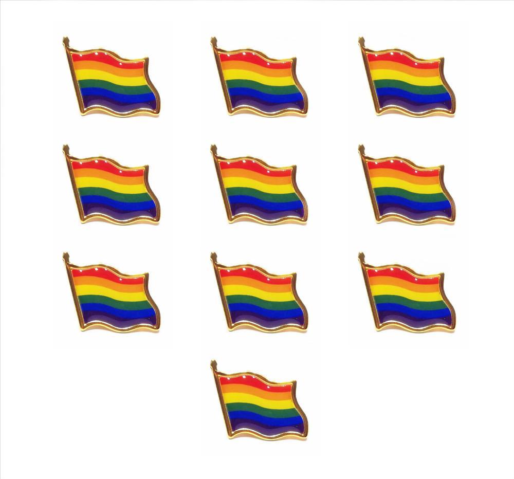 10PCS / 많은 무지개 깃발 옷깃 핀 색상 게이 프라이드 모자 넥타이 압정 배지 핀 미니 브로치 의류 가방 장식