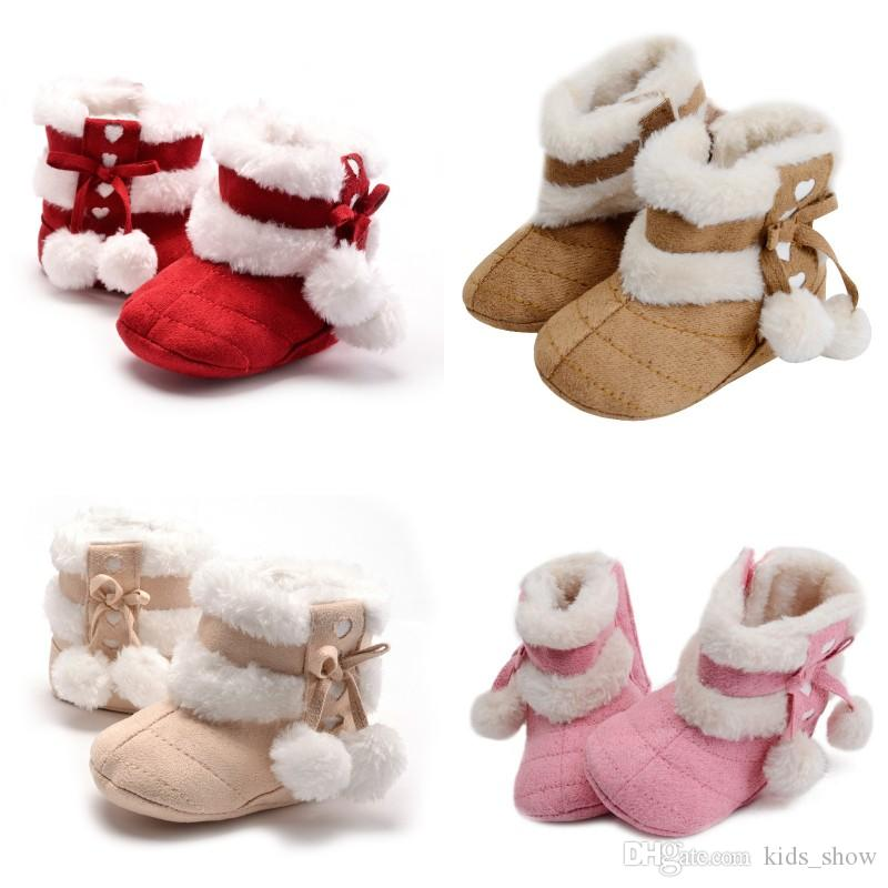 baby girls fleece boots toddler wool crib shoes winter thicken warm first walkers kids crochet knitted shoes