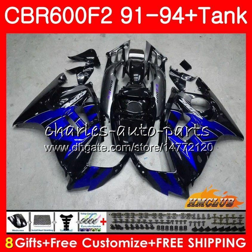 Kropp + Tank för Honda CBR 600F2 CBR600FS CBR 600 FS F2 91 92 93 94 40HC.126 600cc CBR600 F2 CBR600F2 Fabrik Blue 1991 1992 1993 1994 Fairing