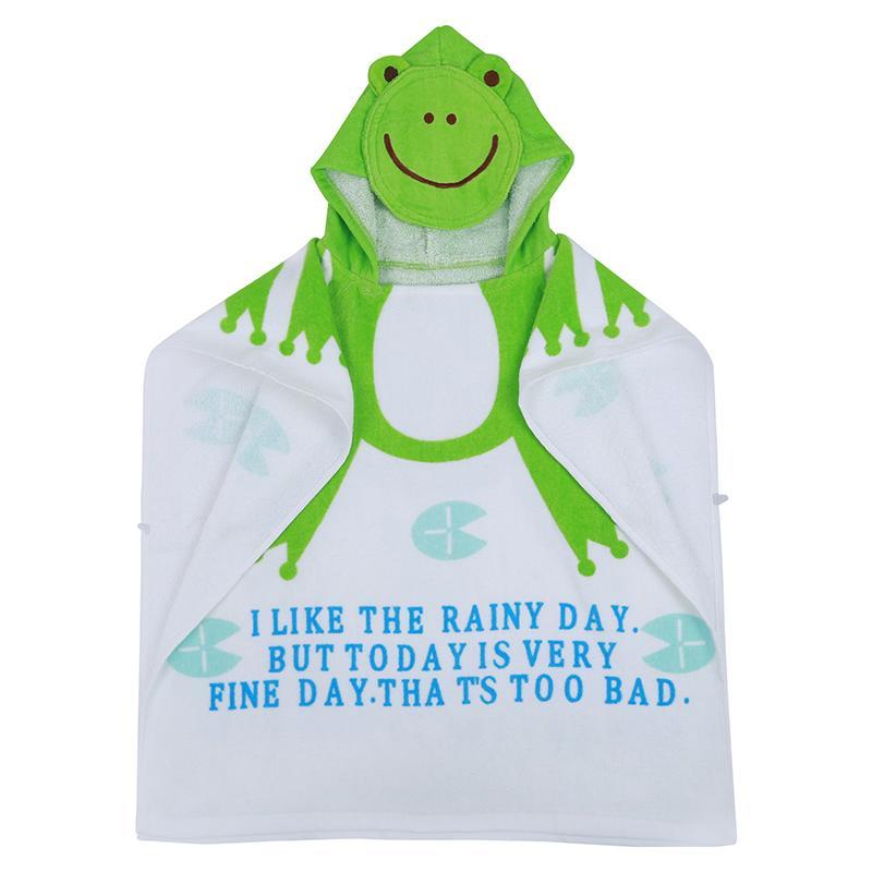 100% хлопок детское пляжное платье детский халат пляжные полотенца плащ накидка младенческая мультфильм животных с капюшоном детское банное полотенце (лягушка)