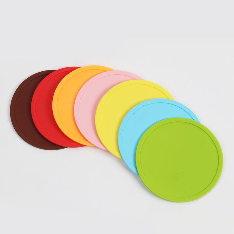 Round Silicone Non-slip Drink Coaster 10CM Silicone Rubber Coffee Cup Pad Mats Wine Glass Bottle Placemat Colorful Home Bar Table Accessory