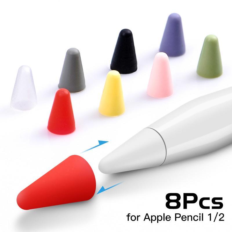 Elma Kalem 1 2 Dokunmatik Elektronik Kalem Case 8pcs / lot Silikon Yedek Kalem İpucu Kılıf Nib Koruyucu Kapak Cilt