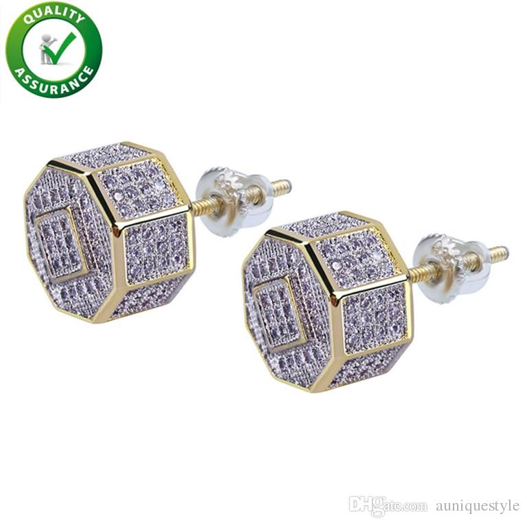 Designer Earrings Luxury Jewelry Men Earrings Hip Hop Iced Out Diamond Stud Square Screw Gold Bling Pandora Style Charms Rapper Wedding Gift