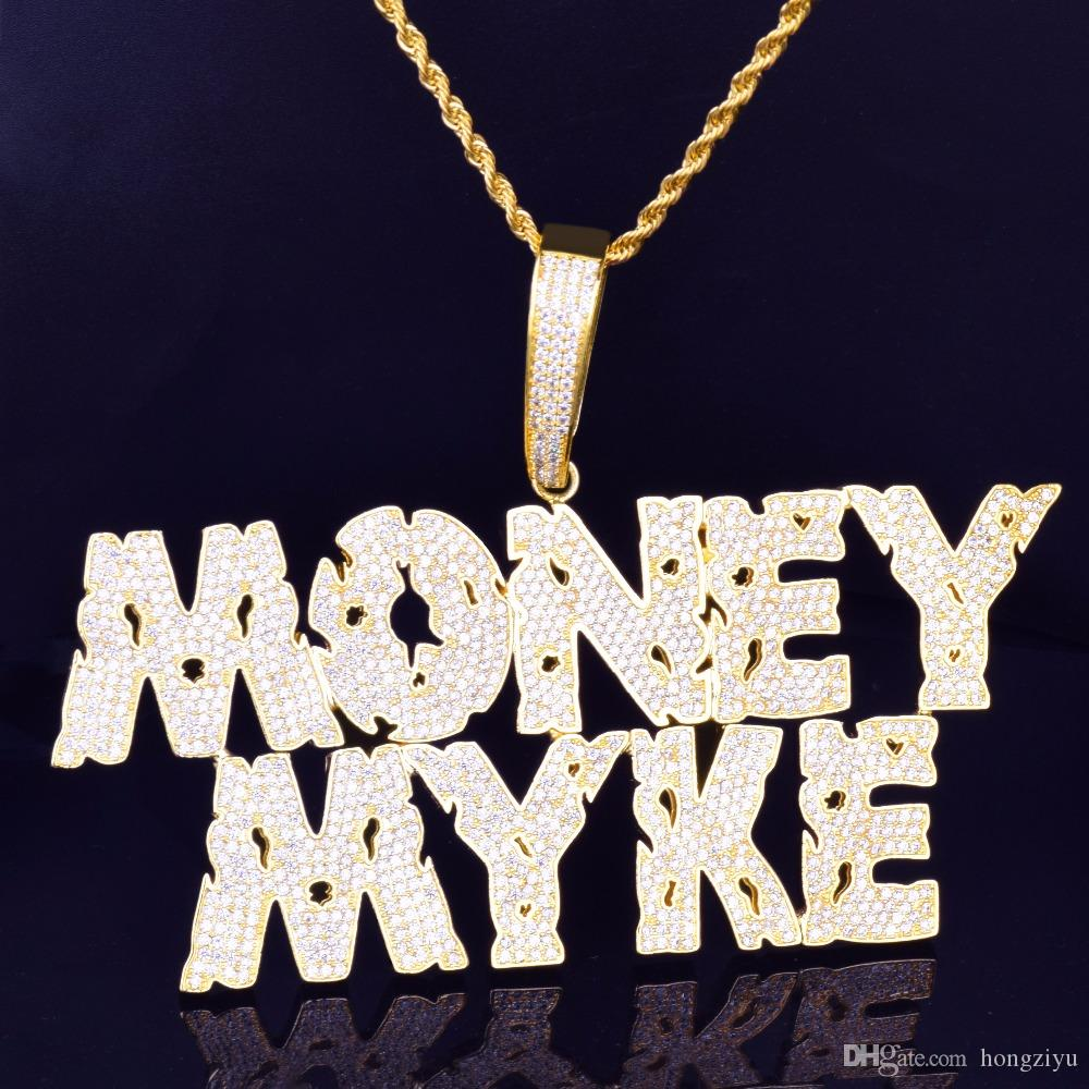 الرجال اسم مخصص تفريغ رسائل مجاني قلادة قلادة سلسلة الثلج خارج مكعب الزركون الذهب الفضة بلينغ زركونيا الهيب هوب مجوهرات