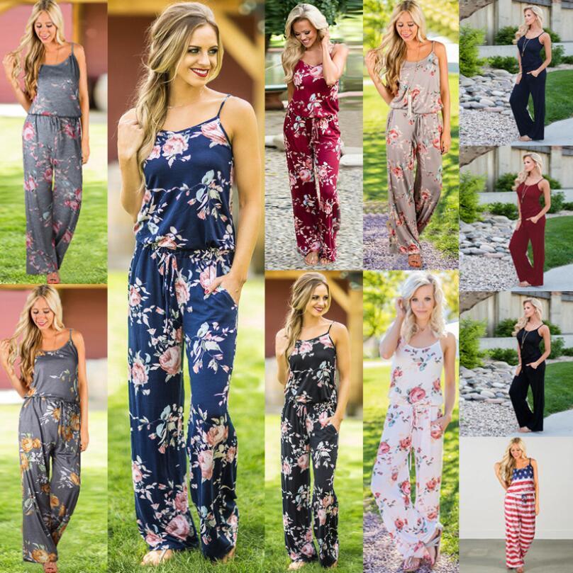 Femmes Floral Bracelet Jumpsuit 18 Styles d'été sans manches barboteuses Boho imprimé floral combis pantalons amples Combinaions LXL1314